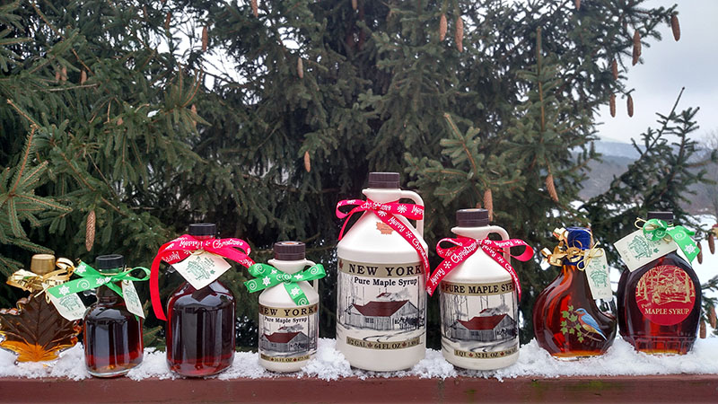 containers of maple syrup as christmas gifts